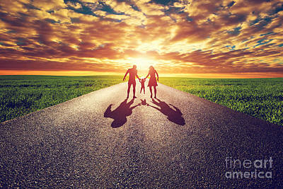 Perspective Photograph - Family Walk On Long Straight Road Towards Sunset Sun by Michal Bednarek