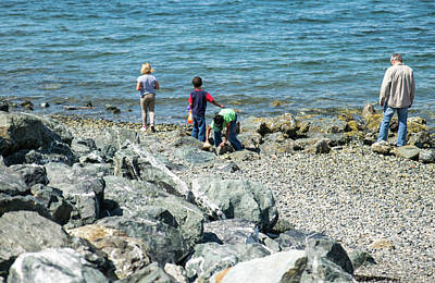 Photograph - Family With Beach Rocks by Tom Cochran