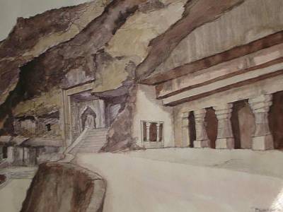 famous Ajantha Caves Art Print by Bhalchandra Salunkhe