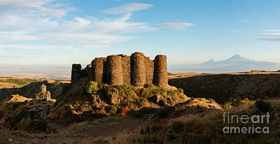Photograph - Famous Amberd Fortress With Mount Ararat At Back, Armenia by Gurgen Bakhshetsyan