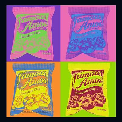 Digital Art - Famous Amos Pop Art by Michael Chatman