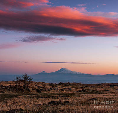 Photograph - Famous Ararat Mountain During Beautiful Sunset As Seen From Armenia by Gurgen Bakhshetsyan