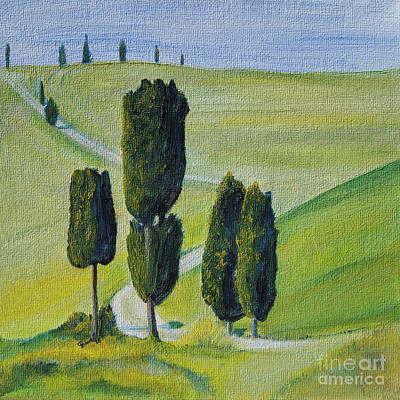 Italy Painting - Famous Cypress In Tuscany by Christine Huwer