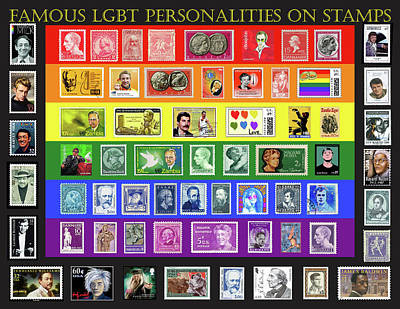 Famous Gay Personalities On Stamps Original by Paul Hamel
