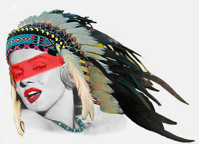 Sexy Indian Girl Digital Art - Famous Indian Girl With Red Face Stripe by Shaun Poole
