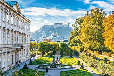 Amadeus Photograph - Famous Mirabell Gardens With Historic Fortress In Salzburg, Aust by JR Photography