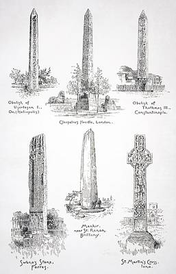 Monolith Drawing - Famous Monoliths At Heliopolis London by Vintage Design Pics
