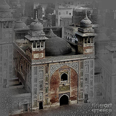 Pakistan Painting - Famous Old Building Of Lahore Pakistan 004 by Gull G