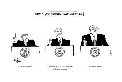 Famous Presidential Hand Gestures Art Print