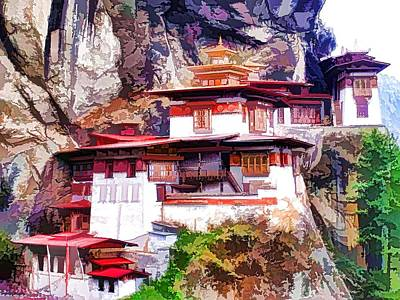 Tibetan Buddhism Painting - Famous Tigers Nest Monastery Of Bhutan 1 by Lanjee Chee