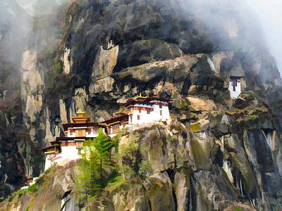 Tibetan Buddhism Painting - Famous Tigers Nest Monastery Of Bhutan 3 by Lanjee Chee