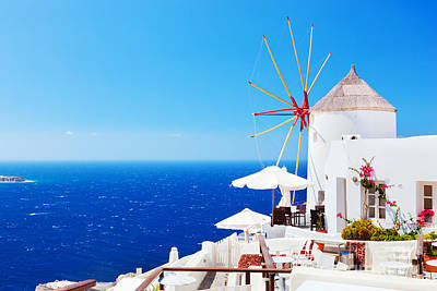Tourists Photograph - Famous Windmills In Oia Town On Santorini Island by Michal Bednarek