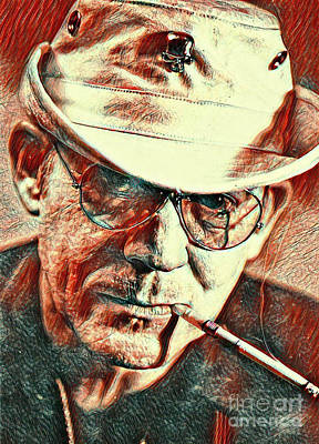 Hunter S. Thompson Painting - Famous Writer Hunter Thompson by Pd