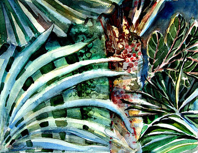 Rain Forest Drawing - Fan Palms by Mindy Newman