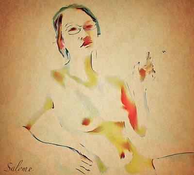 Asian Nude Painting - Fan by Salome Hooper