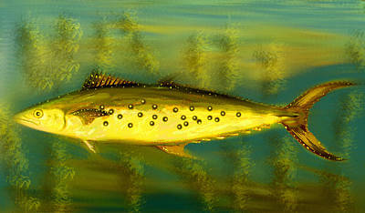 Digital Art - Fanciful Golden Mackerel by Shelli Fitzpatrick