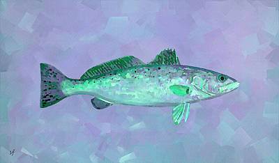 Digital Art - Fanciful Lavender Mint Sea Trout by Shelli Fitzpatrick