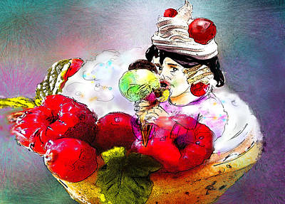 Strawberry Drawing - Fancy An Icecream With Me by Miki De Goodaboom