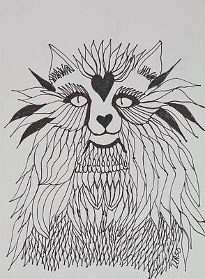 Drawing - Fancy Cat by Maria Urso