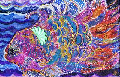 Curly Mixed Media - Fancy Fish On A Monday  by Anne-Elizabeth Whiteway