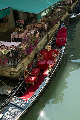 Fancy Gondola Parked In A Canal Next Art Print by Todd Gipstein