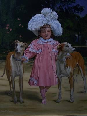 Fancy Grayhounds  Art Print by Robert E Gebler