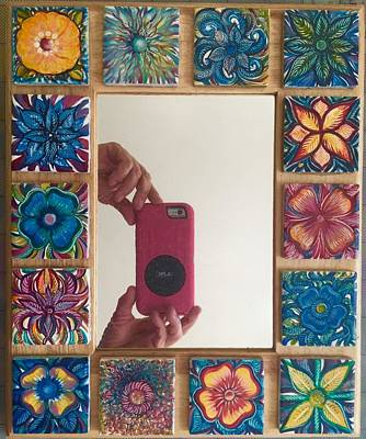 A Hand Mirror Painting - Fancy Mirror Frame by Karen Doyle