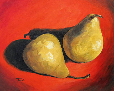 Still Life Painting - Fancy Pears On Red  by Torrie Smiley