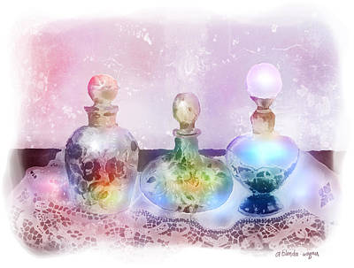 Perfume Bottles Painting - Fancy Perfume Bottles by Arline Wagner