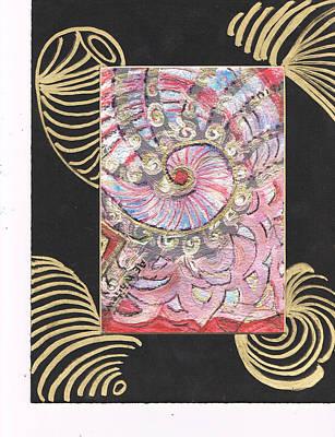 Fancy Shell With Golden Rings Original by Anne-Elizabeth Whiteway