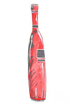 Fancy Tall Red Wine Bottle - Watercolor Painting Art Print