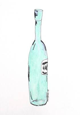 Fancy Tall Teal Wine Bottle - Watercolor Painting Art Print