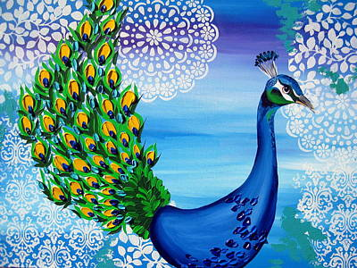 Peacock Drawing - Fancy That by Cathy Jacobs