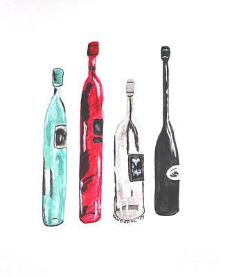 Fancy Wine Bottles - Watercolor Painting Art Print
