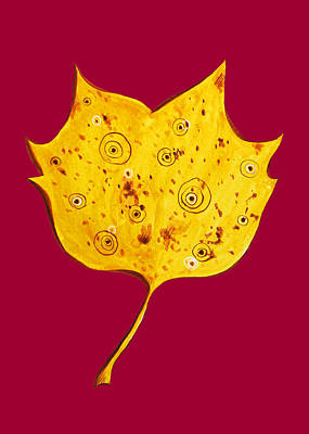 Digital Art - Fancy Yellow Autumn Leaf by Boriana Giormova