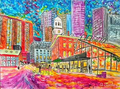 Painting - Faneuil Hall Boston by Anne Sands