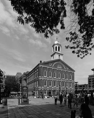 Photograph - Faneuil Hall Boston Black And White by Brian MacLean