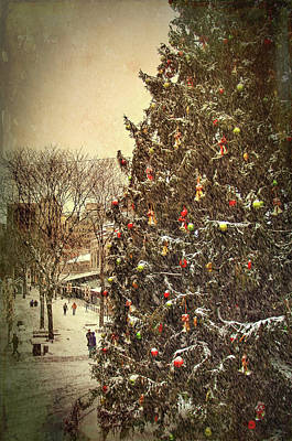 Boston Photograph - Faneuil Hall Christmas Tree - Boston Ma by Joann Vitali