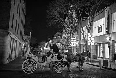 Photograph - Faneuil Hall Horse And Carriage At Christmas Boston Ma Black And White by Toby McGuire
