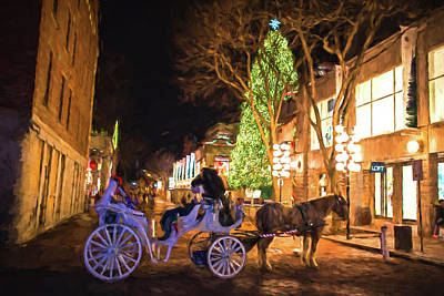 Photograph - Faneuil Hall Horse And Carriage At Christmas Boston Ma Painterly by Toby McGuire