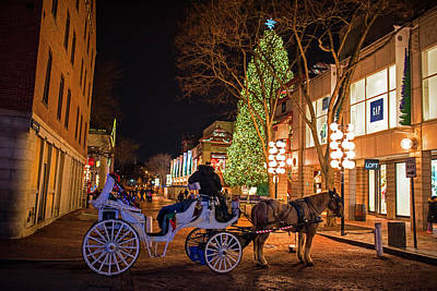 Photograph - Faneuil Hall Horse And Carriage At Christmas Boston Ma by Toby McGuire