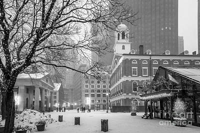 Photograph - Faneuil Hall In Snow - Bw by Susan Cole Kelly