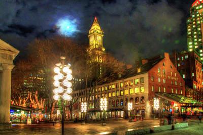Photograph - Faneuil Hall Marketplace At Night - Boston by Joann Vitali