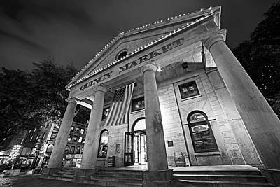 Faneuil Hall Quincy Market Boston Ma Black And White Art Print