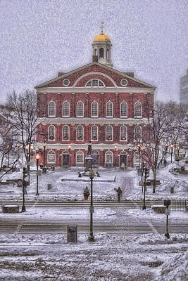 Snowstorm Photograph - Faneuil Hall Snow by Joann Vitali
