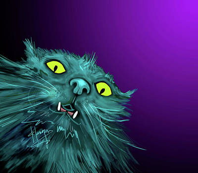 Art Print featuring the painting Fang Dizzycat by DC Langer