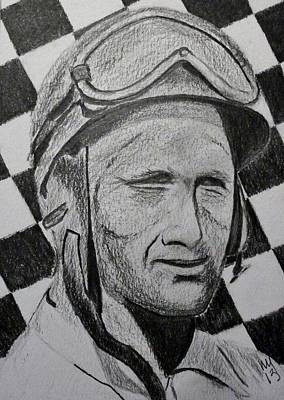 Indy Car Drawing - Fangio by Nick Young