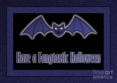 Digital Art - Fangtastic Halloween Bat by JH Designs