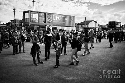 fans in the new fan zone at Liverpool FC anfield stadium Liverpool Merseyside UK Art Print by Joe Fox