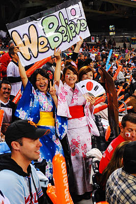 San Diego California Baseball Stadiums Photograph - Fans Of Japan by James Kirkikis